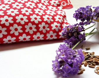 Eye pillows, relaxation, meditation, wellness, lavender, flax seed, wellbeing, ditzy, daisies, red, white