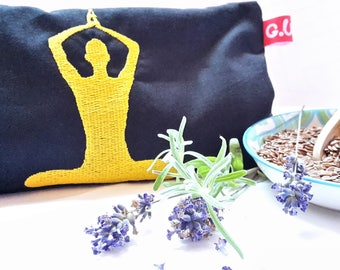 Eye pillows, relaxation, meditation, wellness, flower of life, lavender, flax seed, wellbeing, Namaste, gold, embroidery,
