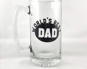 World's Best Dad Beer Mug- Father's Day Gift - Gifts for Dad - Father Gift - Beer Mug - Beer Glass