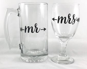 Mr and Mrs Beer Mug and Wine Glass Set - Newlywed Gifts - Wedding Gift - Bridal Shower Gift - Summer Weddings