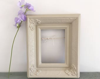 Ornate antique painted frame, solid wood, farrow and Ball stony ground.
