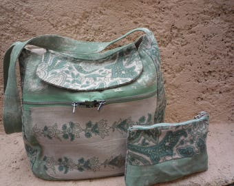 Large shoulder bag painted cotton and linen green Nile