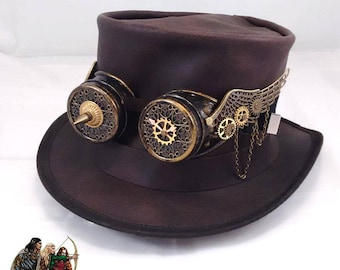 Steampunk leather top hat with winged goggles
