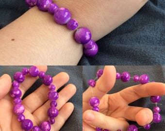 Purple Slash Beaded Bracelet