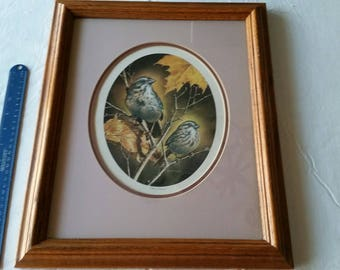 """vintage wood framed signed bird art print by dan hatala - wall hanging numbered picture 501/2000 - ducks unlimited 14""""x17"""" limited edition"""