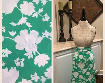 CUSTOM GOLF SKIRT - White Floral on Green Fabric