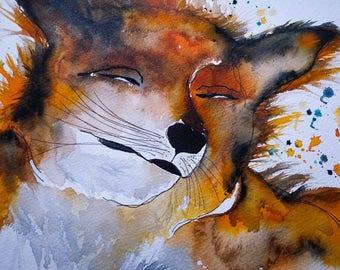 A3 A Whispy Fox. Original watercolour painting.