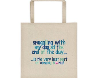 snuggling with my Dog - Square Bottom Tote Bag