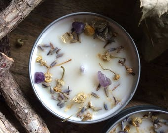 LAVENDER & CHAMOMILE scented soy candle, infused with dried botanicals and healing crystals, vegan scented candle, cruelty-free candle, gift