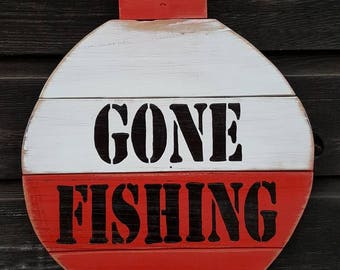 "Handpainted Reclaimed Wood ""Gone Fishing"" Sign"