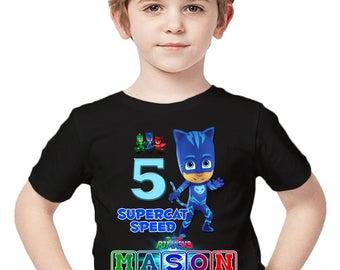 Customized PJ Masks Shirt Add Name & Age Custom Catboy Birthday Party Tee