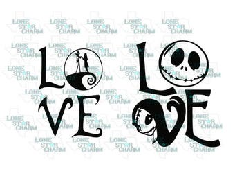 LOVE Jack and Sally SVG/DXF Vector File