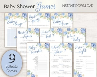 Baby Shower Games, editable games, Baby Shower Game Package Set Bundle , Printable Baby Games, Baby Shower Boy, Floral Game Set, Games Blue,