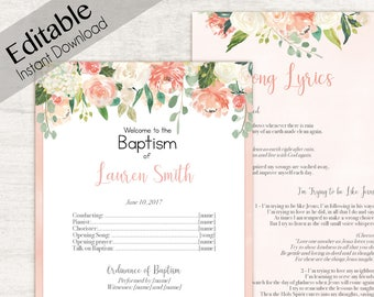 Baptism Program, Editable PDF Printable Digital Handout Girl Baptism, peach flowers, Girl Baptism, Baptism Program template, Baptism Program