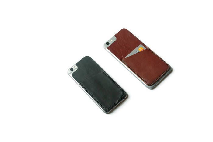 leather stick on iphone wallet credit card id business card