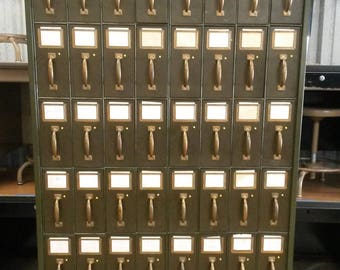 Antique Art Metal Vertical Filing Cabinet, Vintage Vertical Filing Cabinet, Unique 48 Drawer Cabinet, Dark Green Finish,** Local P/U Only**