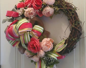 Coral/Pink Grapevine Wreath