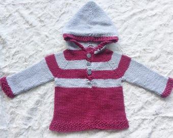 Organic Cotton Handknit Hooded Baby Sweater