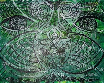 Sale psychedelic hypnosing canvas artwork green Black