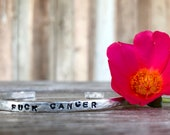 fuck cancer pink ribbon inspirational Hand stamped cuff bracelet gift customized bracelet silver aluminum  copper
