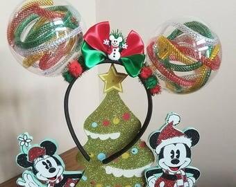 Snow Globe Mickey Ears, Christmas Minnie Ears, Festive Mickey Ears