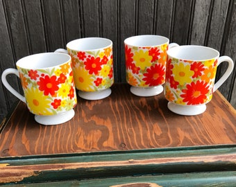Vintage Coffee Cups Retro Red Yellow Flowers set of coffee cups retro coffee cups