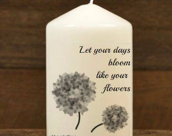 Church Candle, wax candle, ambiance candle, lantern, votive, wick, celebration candle, wedding candle, quote, quotation candle. Mindfulness