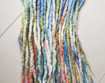 20 DE Rainbow wool dreadlock extensions