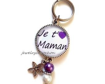 Petit porte-clé je t'aime maman coeur violet