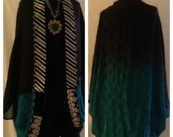 Recycle clothes, silk, Shaded blue cape, revamped, restyle, embroidered, sari, unique