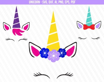 Unicorn svg, Unicorn head svg, Unicorn face svg, Unicorn clipart, flower unicorn svg, png dxf, ai, eps, pdf - Instant digital download