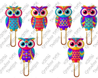 Digital Planner Clips-Colorful Owls
