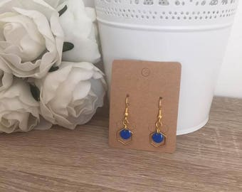 Earrings Pilla gold Navy Blue geometric pendant