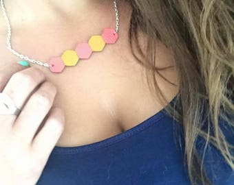 Zapa yellow mustard coral silver 28cm leather necklace