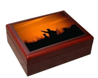 Hunter gift, humidor, cigar box, groomsmen, father, unique cigar gift, cigar, cigar lover, cigar storage, rosewood, cedar lined, hygrometer
