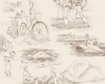 Quilting Treasures - Our National Parks Toile Cream Quilting Treasures 100% cotton fabric by the yard ***QT13***