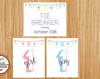 Tie Breaker Pregnancy Announcement Sign, Pregnancy Reveal, Printable, Pink or Blue, Instant Download, Boy and Girl Sign, due October 2018