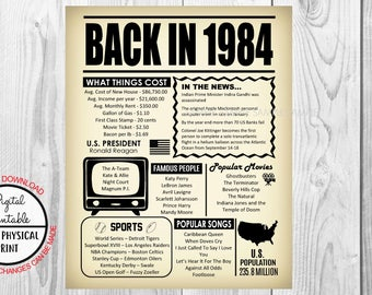 34 Years Ago The Year You Were Born in 1984, 34th Birthday Poster Sign, Back in 1984 Newspaper Style Poster, Printable, Anniversary Gift