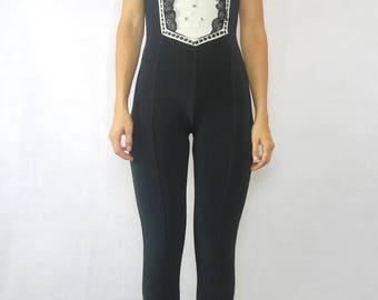 VINTAGE 70s Black Jersey Jumpsuit Size XS 6 8