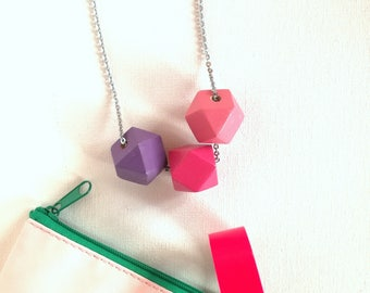 Hand painted wooden necklace. Geometric shapes