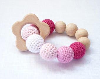 Pink flower teether / Girl teething bracelet / Waldorf wooden teether / baby rattle / Wooden sensory toy / ECO friendly teether