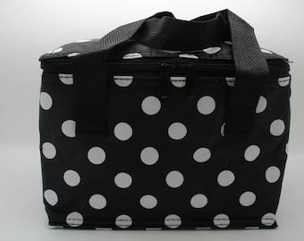 Black Polka Dot Lunch Bags Spotty Design Cool Bag Spot Polka Dot in Black