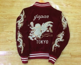 London FB Embroidery Dragon Sky Red Velvet Harumichi Bouya Sukajan Souvenir Jacket
