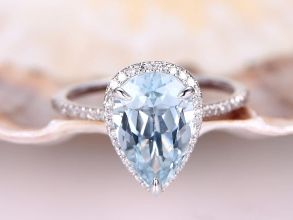 3ct Pear shaped Aquamarine Engagement Ring,VS Natural Blue Aquamarine,Solid 14k White Gold,Diamond Wedding Band,bridal ring,Petit Band,Halo
