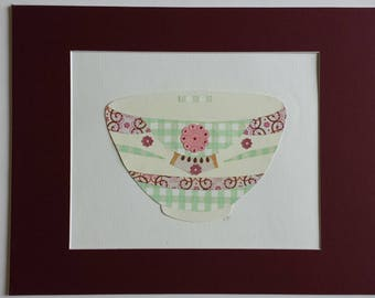 Original paper collage matted for hanging – Pitchers & Bowls Series #43