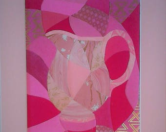 Pitcher in Pink - Color Series #2 - Matted Original Collage