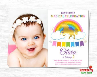 Unicorn Birthday Invitation. Magical Unicorn Birthday Invitation. Rainbow Unicorn Birthday Invitation with Photo. Rainbow Unicorn Party. A34
