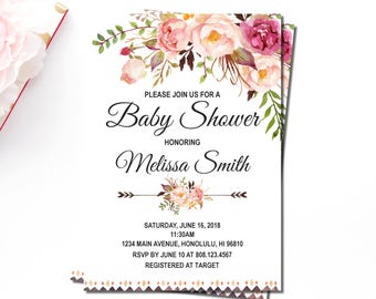 Floral Boho Baby Shower Invitation, Tribal Girl Baby Shower Invitations, Rustic Floral Baby Shower, Personalized Printable Invitation C24