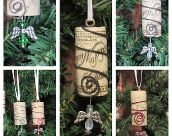 Wine Cork Ornament, Rustic Cork Ornament, Core Tree Ornament, Holiday Wine Cork, Wine Ornament, Handmade Ornament, Wire Wrapped Ornament