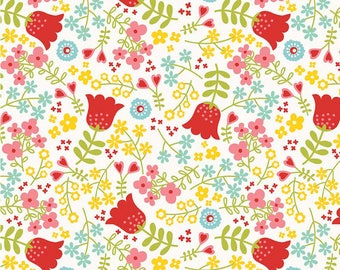 By the HALF YARD - Happy Day by Lori Whitlock for Riley Blake, #C5910-White Main, Raspberry Red, Pink, Yellow, Blue & Green Floral on White